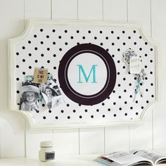 Scallop Framed Monogram Pinboard - Reverse Black Dottie