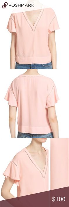 """NWT Rebecca Taylor Ruffle Crepe V Neck New wih tags, retails for $225. Tags will be cut to prevent store return. Laddered insets accentuate the V-neckline and ruffly short sleeves of an easy-fitting top cast in soft pink crepe.  Selling for $80 on MERC! 💗 25"""" length (size Medium). V-neck. Short sleeves. 100% rayon. Dry clean. By Rebecca Taylor; imported. Individualist. Rebecca Taylor Tops Blouses"""