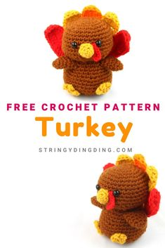 Make a cute turkey for Thanksgiving with this free amigurumi crochet pattern! The Effective Pictures We Offer You About amigurumi dinossauro A quality picture can tell you many things. You can find th Amigurumi Giraffe, Doll Amigurumi Free Pattern, Crochet Animal Amigurumi, Crochet Animal Patterns, Stuffed Animal Patterns, Crochet Dolls, Crochet Animals, Halloween Crochet Patterns, Amigurumi Toys