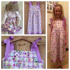 Dress and matching dolls skirt made by me...my first attempt at sewing