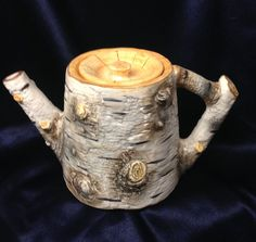 Diy Wood Projects, Wood Crafts, Coffee Bar Home, Living Room Decor Cozy, Rustic Wedding Centerpieces, Teapots And Cups, Birch Bark, Ceramic Teapots, Department 56