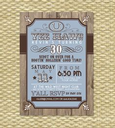 Country Western Adult Birthday Invitation  by SunshinePrintables, $18.00