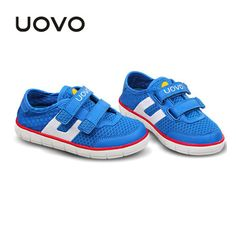 Uovo Kids Spring Autumn Breathable Mesh Shoes Boys Girls Soft Sport Sneakers Flat Casual Children Loafers Blue Red Color 27-35 alishoppbrasil