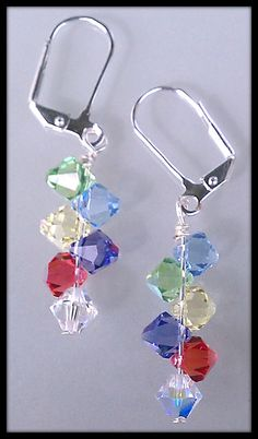 Swarovski Crystal Earrings. Rainbow colors Swarovski Earrings. Swarovski Jewelry