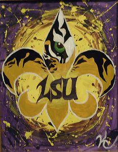 fleur de lis paintings/louisiana artists | ... Tiger15 x 19 Fleur de Lis Painting by Local Young Artist KC | eBay