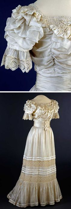 Dress, Steen & Strøm, Oslo, ca. 1905-06. Machine- and hand-sewn by machine woven silk and cotton fabrics, plain weave, linen thread, balusters, and metal clasps. National Museum for Art, Architecture, and Design, Norway