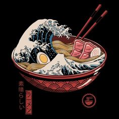 Shop for Noir Gallery Ramen Wave Japanese Culture Unframed Art Print/Poster. Get free delivery On EVERYTHING* Overstock - Your Online Art Gallery Store! Japan Illustration, Simple Illustration, Fantasy Illustration, Watercolor Illustration, Doodle Art, Grafik Art, Art Japonais, Wave Art, Poster Prints