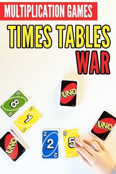 A Super Fun Way to Revise Times Tables A fun adaptation of the popular kids card game, War, this math game is perfect for reinforcing and assessing learning about multiplication. Math Multiplication Games, Math Card Games, Card Games For Kids, Math Activities For Kids, Fun Math Games, Math For Kids, Math Resources, Learning Games For Kids, Abc Games