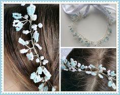 Flowergirl headband, blue and white beaded headband, flowergirl headdress, hair accessories, bridal accessories, confirmation headdress by DunnCrafting on Etsy