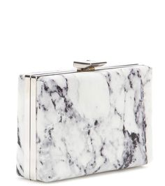 Printed white and black leather box clutch