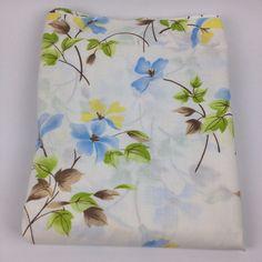 VTG Twin Flat Bed Sheet Sears Perma Prest Blue Brown Floral 70s Retro Fabric #SearsPermaPrest