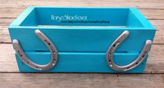 $19.99 © Blue & Silver Horseshoe Crate Box.  Western Home Decor by HorseShoeFever. Pony Horseshoes, Storage, Charging Station, Fall Centerpiece, Country, Farm, Cowboy, Wedding Cards, Nursery Caddy, Wood, Metal