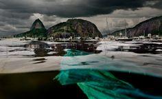 Um pedaço de plástico boia na água marrom da Enseada de Botafogo: vergonha em um dos lugares mais bonitos do mundo Foto: Rodrigo Thome/2olhares.com