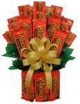The Reeses Peanut Buttercup Candy Bouquet is one of our best selling candy gifts.  And you know why?  Because everyone loves their chocolate Reeses and what better way to brighten someone's day than sending this gift for delivery.  Send it for a birthday present, a get well gift or to say well done on your assignment (or retirement).  Kids love this as well as college students, send one as a college care package.This Xtra Large Reese's Bouquet consist of12 large double pks. and 12 single…
