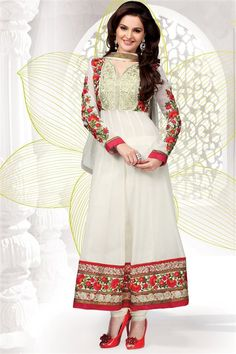 Designer Monika Bedi Off White, Red Georgette Suit