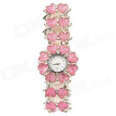 Double Row Heart Pattern Titanium Alloy Band Quartz Analog Women's Wrist Watch - Pink + Silver