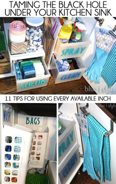 11 tips for organizing under the kitchen sink! Tame the black hole and use every available inch with drawers, baskets, hooks and towel bars.