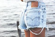 Acid Wash High Waist Denim Shorts by KneeDeepDenim on Etsy, $35.00
