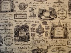 Rue Bonaparte, Cafe Black, Tea Cafe, Fat Quarters, Black Fabric, Vintage World Maps, Fabrics, French