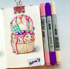 и ещё один капкейк! 😋 Inspired by . Arte Copic, Copic Art, Cake Drawing, Food Drawing, Art Drawings Sketches, Easy Drawings, Copic Marker Drawings, Candy Art, Copics