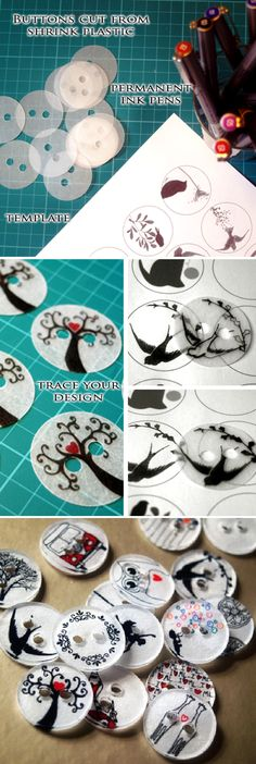 How to Make Clothing Buttons from Shrink Plastic. Could also be different sizes and shapes.
