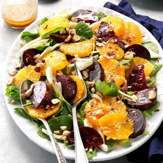 Winter Beet Salad Recipe -To save a little time on this sweet and savory beet salad, we recommend using packaged salad greens in this original recipe. The simple dressing is easy to assemble. —Taste of Home Test Kitchen Goat Cheese Salad, Spinach Salad, Tilapia, Easy Salads, Healthy Salads, Healthy Food, Healthy Eating, Christmas Salad Recipes, Beet Salad Recipes