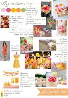 color palette: coral, pink, yellow, orange, green