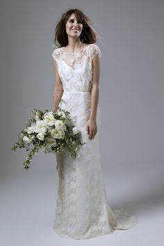 Lydia Rose embroidered tulle slash neck wedding dress with puddle train by Halfpenny London