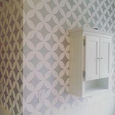 Stenciled walls in a silver modern geometric pattern   Modern Masters Silver Metallic Paint   Project by Heather Jozak Studios