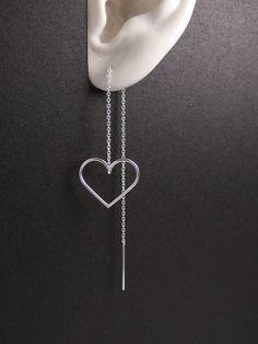 Threader earringssterling silver thread by artstudio88 on Etsy