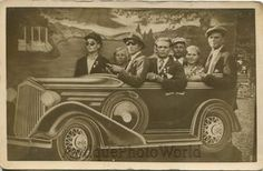 Family in fake car automobile great sun glasses antique arcade photo