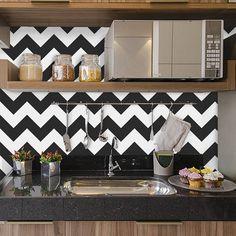 pinturas de paredes chevron na cozinha