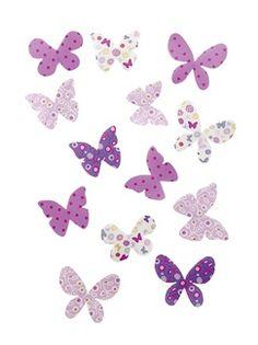 Lot de 16 papillons chambre fille  - vertbaudet enfant