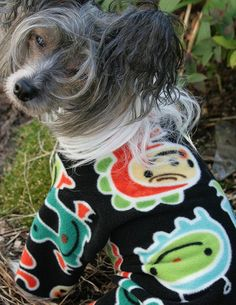 Puppy Pajamas for Small Dogs | Fleece Dog Pajamas in Little Monsters Fabric by NakedDogPJs