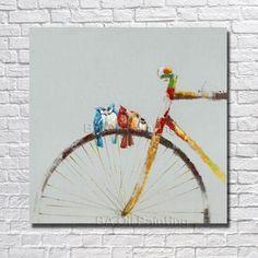 1 Pieza de Pared de La Lona 100% pintado a Mano Abstracto Pintura Al Óleo Moderna Sala de estar Decoración de La Pared de La Bicicleta Fotos no Enmarcado Arte