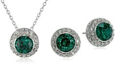 Sterling Silver Green and White Swaro... $33.25 #bestseller  #AmazonCuratedCollection