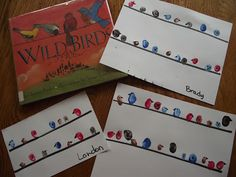 Winter Birds- awesome unit on winter birds! I love the twist of the birds on a wire project. And the handprints!