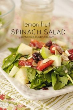 Lemon, Fruit and Spinach Salad is a light fruity summer spinach salad with a lovely lemon dressing. Topped with apple, strawberries, sugared almonds and craisinets