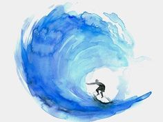 Cool watercolor wave drawing