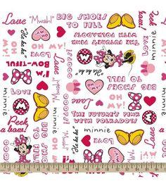 Disney Minnie Words Cotton Fabric