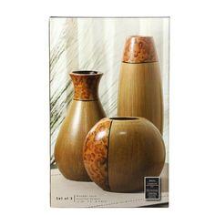 Amazon.com - Expresiones elegante juego de 3 Burlwood Floreros - Floreros decorativos