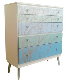 upcycled bespoke hand painted chest of drawers