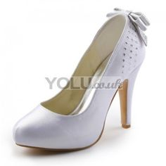 Satin Upper Closed Toe Stiletto Heel Wedding Bridal Shoes With Bowknot(More Colors Available) - Wedding Shoes
