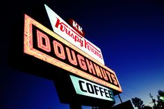 """Krispy Kreme Doughnuts. Wait for the """"Hot fresh now"""" neon sign to light up, then bust a move."""
