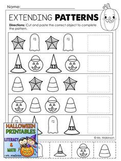 Extending Halloween Patterns (ABAB) More Halloween Math Worksheets, Free Kindergarten Worksheets, Printable Math Worksheets, Preschool Printables, Preschool Halloween, Kindergarten Prep, Halloween Crafts, Math Classroom, Maths