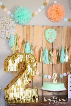 peach and green birthday table - Google Search