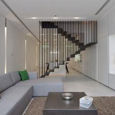 Stairs in centre of room
