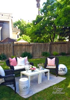 Garden stool and accessories from HomeGoods make this patio more inviting  (Sponsored pin)