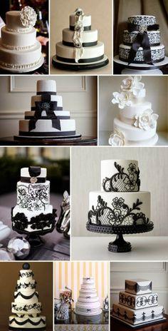 Black and White Wedding Theme | Wedding Cake. http://simpleweddingstuff.blogspot.com/2014/02/black-and-white-wedding-theme.html