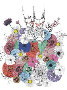 Sophie Truant /Illustration éditée par L'illustre Boutique en 30 exemplaires Signée et numérotée de la main de l'artiste Impression fine art Papier Fedrigoni Tintoretto Gesso, 250g Garantie Lumière 30 x 40 cm / 11,81″ x 15,75″ [Vendue sans cadre] Quelque Chose, Illustrations, Boutique, Kids Rugs, Instagram Posts, Flowers, Inspiration, Oui, Converse